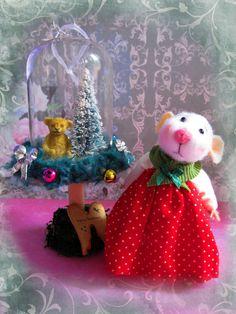 Nostalgie Fantasy Maus m Weihnachtswelt Galskuppel,Filzmaus,Landhaus/Shabby Ooak