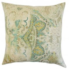 This throw pillow evokes an understated elegance with its lovely detail. It's a perfect statement piece to use in your living room or bedroom. This plush accessory is ideal for indoor use and made of 100% high-quality linen material. A captivating floral pattern in shades of green, yellow and natural are highlighted in this toss pillow. Crafted in the USA. $55.00 #floralprint #floralpillow #floral #throwpillow #homedecor