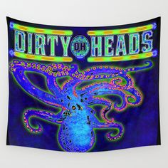 Dirty Heads Octopus Trippy Psychedelic Character Design by CAP Wall Tapestry