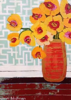 art painting flowers in a vase - Anna Blatman. Christian Anderson, Abstract Flowers, Painting Flowers, Wow Art, Still Life Art, Arte Floral, Painting Inspiration, Collage Art, Art Lessons