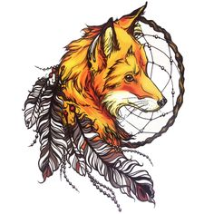 Yellow Fox with Feather Cool Beauty Tattoo Waterproof Hot Temporary Tattoo Stickers #21 X 15 CM Size #clothing,#shoes,#jewelry,#women,#men,#hats,#watches,#belts,#fashion,#style