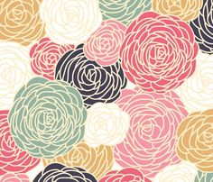 vintage inspired seamless floral pattern with colorful roses by fleurpaperco