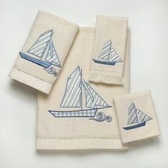 beach decor sailboat towels