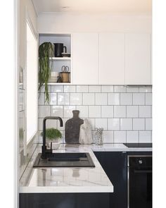Kaboodle kitchen with subway tiles and matt black tapware and sink. Life Kitchen, Home Decor Kitchen, New Kitchen, Kitchen Dining, Kitchen Cabinets, Open Cabinets, Kitchen Island, Kaboodle Kitchen Bunnings, Black Kitchens