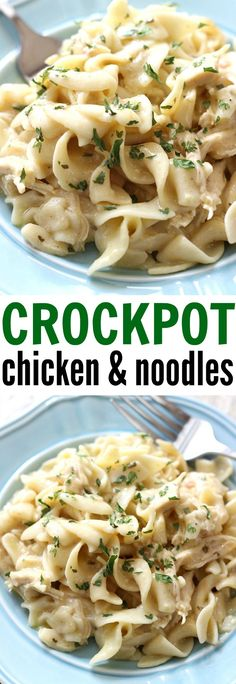 Crockpot Chicken and Noodles - a comforting, home cooked meal made right in your slow cooker. This is a family favorite Chicken and Noodles - a comforting, home cooked meal made right in your slow cooker. This is a family favorite! Creamy Crockpot Chicken, Crockpot Chicken And Noodles, Slow Cooker Chicken, Chicken Recipes, Recipe Chicken, Creamy Chicken And Noodles, Chicken Fajitas, Chicken Soup, Orzo