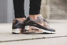The New NIKE Sneakers Women's Nike Air Max 90 Iron ➡ http://www.hoodboyz.co.uk/product/p162124_nike-shoe-wmns-air-max-90-leather-low-sneaker-grey-bronze.html