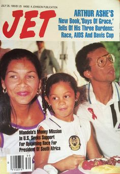 Vintage Jet magazine featuring photographer and author Jeanne Moutoussamy-Ashe, her husband tennis great Arthur Ashe, and their daughter Camera, fifteen years after they first graced the cover as newl Jet Magazine, Black Magazine, Life Magazine, Ebony Magazine Cover, Magazine Covers, Essence Magazine, Vintage Black Glamour, Black History Facts, Black Families