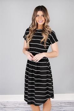 Cinch Waist Striped Midi w/ Pockets | S-XL