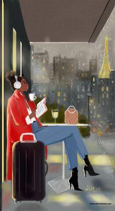 Just Passing Time! Black Girl Cartoon, Black Girl Art, Black Women Art, Black Girl Magic, Black Girls, Art Girl, African American Art, African Art, Black Love