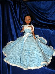 On doll in hand light blue crocheted layered by GrammasTreasure, $15.00