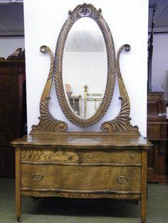 Outstanding Circa 1895 Ash Serpentine 3 - Drawer Princess Dresser w/ Oval Mirror #Victorian