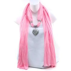 Necklace Style Fashion Scarf Rhinestone Heart Charm Pink | eBay