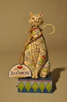 Jim Shore Windsor White Cat Flower Pattern Figurine 4025833 NIB
