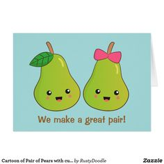 Shop Cartoon of Pair of Pears with cute expressions created by RustyDoodle. Valentine Day Gifts, Valentines, Pears, Egg Shells, Custom Greeting Cards, Cute Cartoon, Paper Texture, Backdrops, Illustration Art