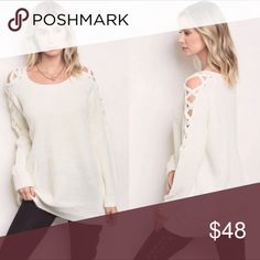 Cream Shoulder Laced Sweater Gorgeous cream shoulder laced sweater 65% acrylic, 20% polyester and 15% nylon Threadzwear Sweaters