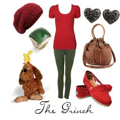 "LOVE IT! Dr. Seuss' Who Stole Christmas inspired outfit called ""The Grinch"" by character-inspired-style on Polyvore. #grinch #drseuss"