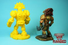 printed and painted Xochatl and Eztlachtli character models for ECHO-War Of The Ravaged, by Lloyd Chidgzey Character Modeling, Lion Sculpture, War, Statue, Models, Printed, Painting, Decor, Templates