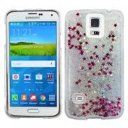 Silver Stars Clear Liquid Glitter Bling Case Cover For Samsung Galaxy S 5 S5