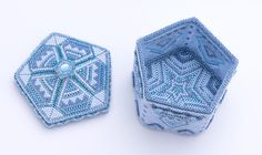 Beaded Pentagonal Blue Box which opened a lid