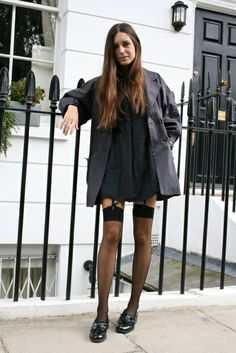 yes to stockings and gala Black Stockings Outfit, Garters And Stockings, Stockings And Suspenders, Gala Gonzalez, Frat Outfits, Look Fashion, Fashion Outfits, Fashion Design, Fashion Black