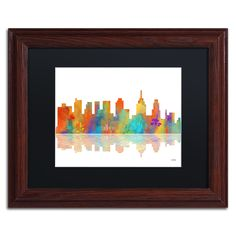 Marlene Watson 'Philadelphia Pennsylvania Skyline' Matte, Wood Framed Wall Art