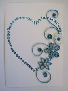 Quilling heart with flowers (blue). I love the use of quilling and rhinestones… Origami And Quilling, Quilling Paper Craft, Quilling Tutorial, Quilling Patterns, Quilling Designs, Card Patterns, Toilet Paper Roll Crafts, Paper Crafts, Rolled Paper Art