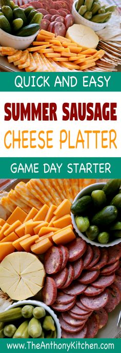 How to make a cheese platter | An easy cheese platter idea, perfect for game day entertaining, featuring summer sausage, cheeses everyone loves, crackers, and pickled relishes. Perfect football party food! #gamedayfood #footballpartyfood #easycheeseplatter