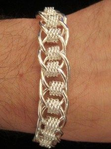 Mens Bracelet Silver Plate Thick Multi-Design Chain Link Toggle Heavy | Golde...