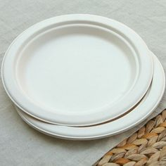 White Sugarcane Plates - 100% Biodegradable