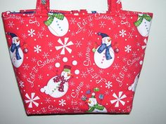 Snowman Purse, Bright red, Quilted. $25.00, via Etsy.