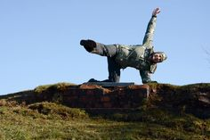 Brilliant sunny, blue sky photo sent in Sunday 8th February. Yoga in unusual places with Nikki Errington on Blackdown in the Mendip Hills. Thanks Nikki for doing your 90 degree angle side plank its a fab photo showing fantastic technique smile emoticon — with Nikki Errington.