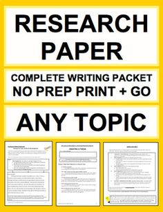 Research Pape Middle Schoolr: Complete Unit: Any Topic: Research papers made easy! This complete unit has everything you need to teach writing a research paper from start to finish FOR ANY TOPIC! This packet has successfully guided hundreds of my students through their research papers in English and Social Studies. This packet contains 40 pages of instructions, exemplars, graphic organizers and drafting templates for every step of research and expository writing #researchpaperoutline