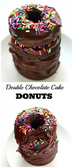Double Chocolate Cake Donuts - Baked,  not fried, these double chocolate cake donuts are topped with chocolate ganache and rainbow sprinkles!
