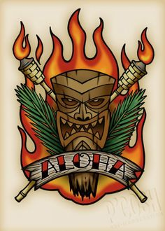 Aloha Tiki Tattoo Flash by P'Gosh