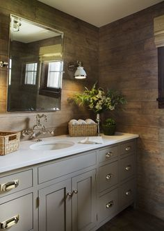 Kings Lane Farmhouse, Faux wood tile, gray cabinets, ralph lauren lighting, wall mounted faucet by perrin and rowe