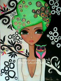 Pintura Romina Lerda Kunstjournal Inspiration, Art Journal Inspiration, Eye Art, Whimsical Art, Fabric Painting, Female Art, Art Girl, Watercolor Art, Art Drawings