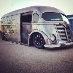 jeremylawson: Chopped, channeled, and sectioned International Harvester Metro Van built by Morbid Rodz.