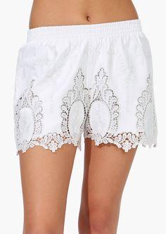 White Elastic Waist Floral Crochet Lace Shorts 31.98