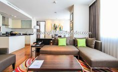 Apartment For Rent On Sukhumvit 11 To find out more of this building & available condos or apartments for rent, go to:   http://bangkokcondofinder.com/?pagename=search-results=75000      This apartment for rent on Sukhumvit 11 is a striking two-bedroom and two-bathroom unit at Fraser Suites 11.  Furnished and exuding a calm elegance, this 95-square meter serviced apartment includes a lovely balcony, open layout, full length windows, and premier hardwood and tile fl