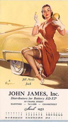 Jill Needs Jack, 1950 | Gil Elvgren pinup #pinupartsource #elvgren