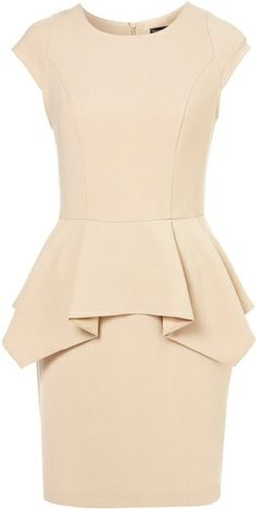 Topshop Peplum Pencil Dress in Beige (nude) neutral bridesmaid dresses Mode Style, Style Me, Lady Like, Topshop, Fashion Beauty, Womens Fashion, Girl Fashion, Fashion Outfits, Fashion Clothes