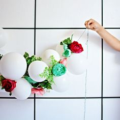 Balloons + Spring Flowers Make A Great Combination In A Garland.