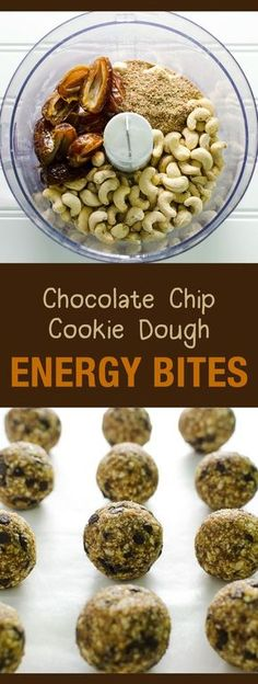Chocolate Chip Cookie Dough Energy Bites - a healthy snack or dessert - easy recipe - vegan and gluten free. Pin this clean eating energy bite recipe to make later this week. Healthy Vegan Snacks, Vegan Treats, Healthy Sweets, Vegan Recipes Easy, Raw Food Recipes, Snack Recipes, Dessert Recipes, Cooking Recipes, Dessert Healthy