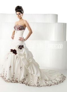 Gorgeous A-Line/Princess Sweetheart Cathedral Train Flower Taffeta Bridal Dresses