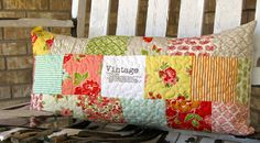 floral vintage patchwork pillow cover, Marmalade quilted pillow cover, 14 x 28 rectangular pillow