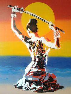 Items similar to Japanese nude Geisha with samurai sword painting stencil art pop art oriental tattoo custom street art fine art women artist spray paint art on Etsy Samurai Art, Samurai Swords, Female Samurai, Sword Tattoo, Japanese Artwork, Oriental Tattoo, Spray Paint Art, Japan Art, Stencil Painting