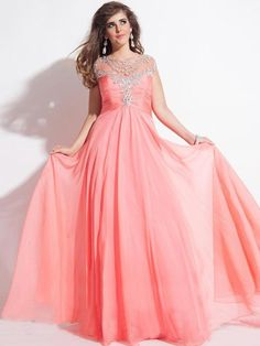 A-Line/Princess Jewel Ruched Crystal Sweep/Brush Train Chiffon Plus Size Prom Dresses JollyProm