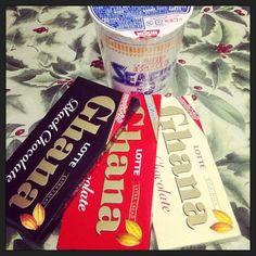 Food Adventure! :p Awesome treats. :D Cup Noodles & Ghana. ;) #chocolates #noodles #thankshideaki