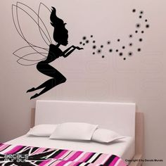 Wall decals  FAIRY & MAGIC DUST Wall art stickers  by decalsmurals, $31.95.  This is in Emma's room but bright orange on purple wall