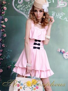 Morpheus Boutique  - Pink Ruffle Bow Layer Strap Pleated Dress, $59.99 (http://www.morpheusboutique.com/products/pink-ruffle-bow-layer-strap-pleated-dress.html)